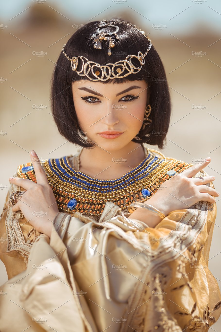 Beautiful Woman With Fashion Make Up And Hairstyle Like Egyptian