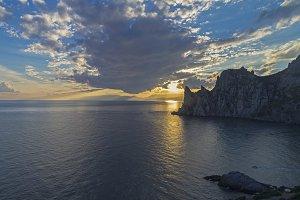 Coastal cliffs at sunset.