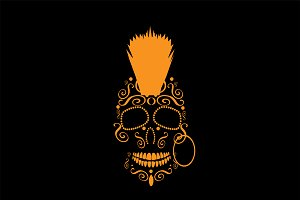 Skull Mohawk Punk icon orange
