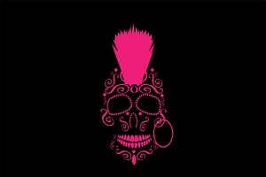 Skull with Punk Mohawk pink color