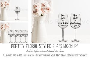 3 Pretty Floral Wine Glass Mockups