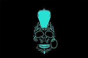 Skull with Punk Mohawk neon