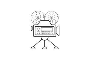 Video camera line icon