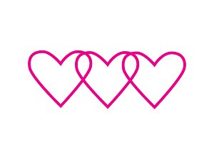 Heart icons pink color vector