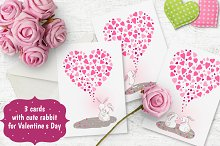 3 romantic cards with rabbits.