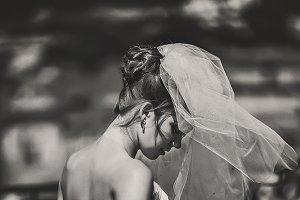 Beautiful bride and sunshine
