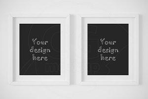 Set of 2 white matted frame mockup