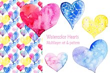 Kit of watercolor hearts