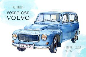 Watercolor retro Volvo car