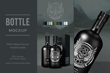 Black frosted rum bottle