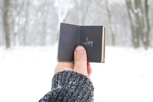Joy, winter idea. Vintage book with inscription