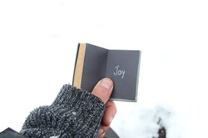 Joy, christmas or winter idea. Male holds the book with inscription