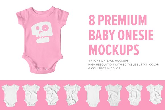 Download 8 Premium Baby Shirt/Onesie Mockups