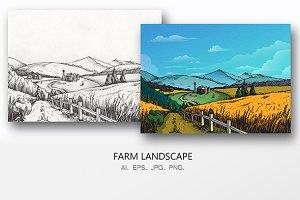 Farm Nature Landscape Hand Drawn