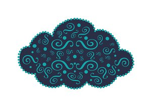 Cloud icon ornament blue vector