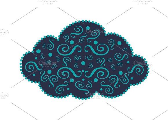 Cloud Icon Ornament Blue Vector