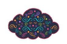 Cloud icon ornament vector 2