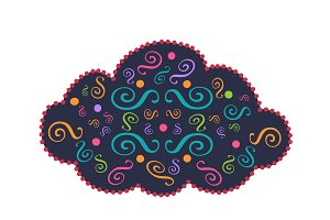 Cloud icon ornament vector 2