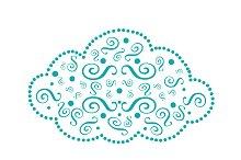 Cloud icon blue ornament