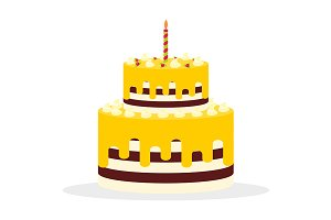 Cake with yellow cream and candle