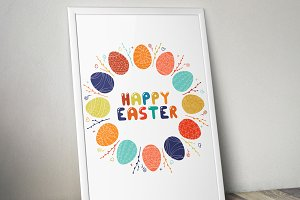 Happy easter round frame, card.