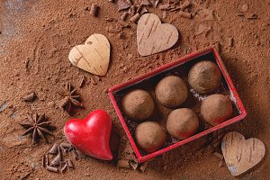 Chocolate truffles with Valentine's hearts