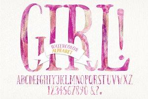 Watercolor baby girl alphabet