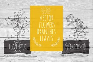 VECTOR flowers branches leaves