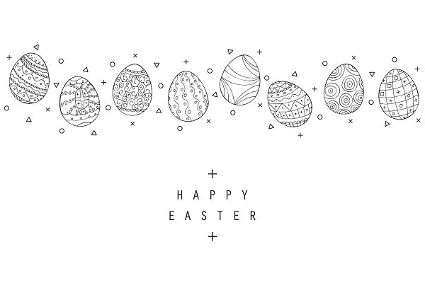 Hand drawn Easter eggs colletion.