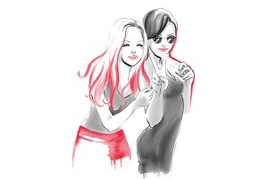 Fashion watercolor with hugging girl