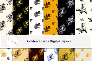 Golden Leaves Digital Papers