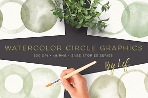 Green Watercolor Circle graphics