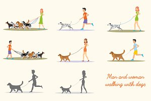 Man and women walking with dogs