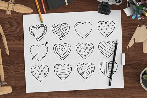 Hand drawn hearts + seamless pattern