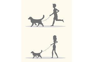 Silhouette man and women walking dog