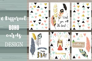 6 cute lovely design boho cards1#