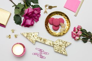 Fuschia and gold styled stock
