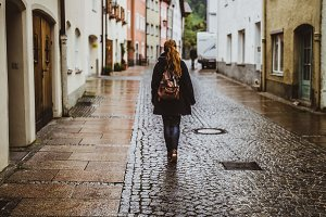 Fussen old town,girl walking away