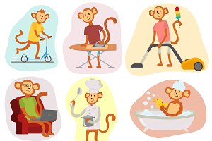 Monkey cartoon vector people