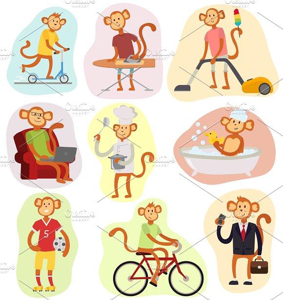 Monkey Cartoon Vector People