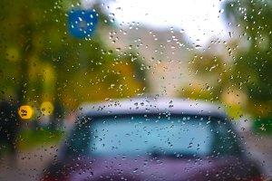 rain at the traffic light