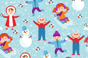 Winter kids seamless pattern vector