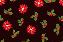 Holly branches seamless pattern