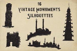 16 Vintage monument's silhouettes