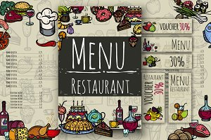 Restaurant menu & Hand Drawn Icons