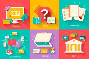 concept idea of flat business vector