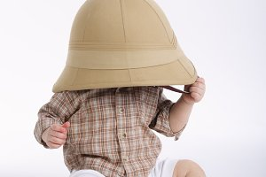 cute little boy with safari hat