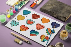Collection of color hearts + pattern