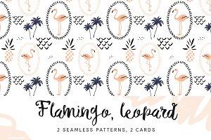Flamingo, leopard