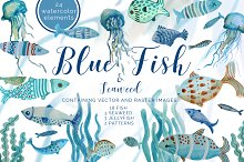 Blue Fish Set with